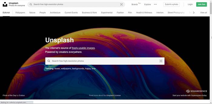 Unsplash screenshot