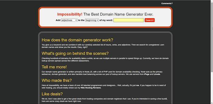 Impossibility.org screenshot