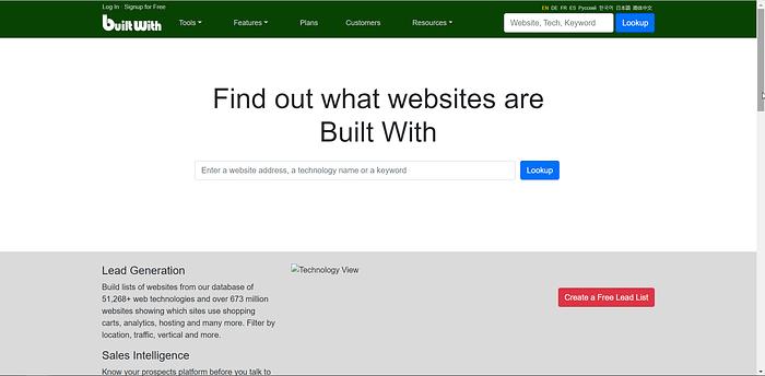 BuiltWith screenshot