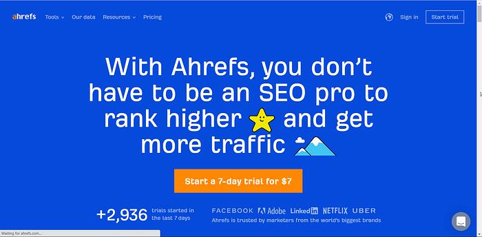 Ahrefs screenshot