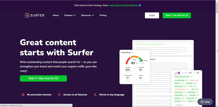 SurferSEO screenshot