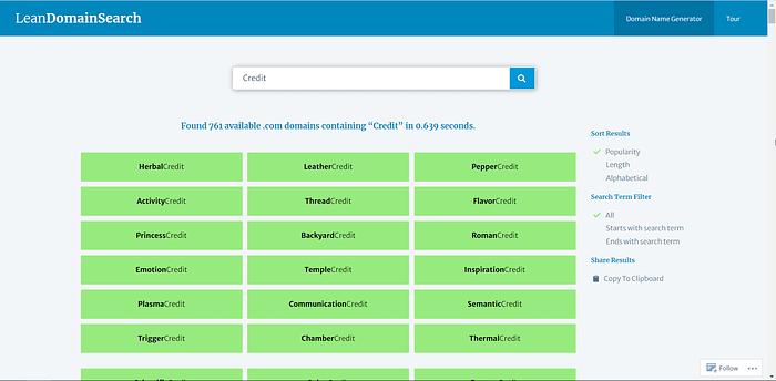 Lean Domain Search screenshot