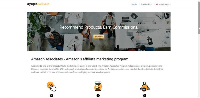 Amazon Associate screenshot