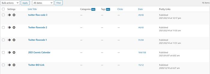 Prettylinks dashboard screenshot
