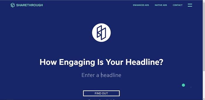 Sharethrough Headline Analyzer screenshot