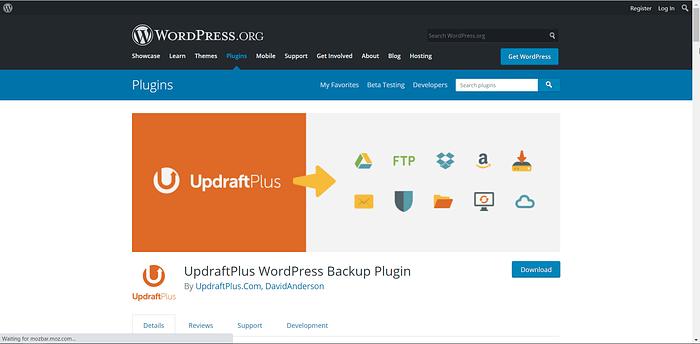 UpdraftPlus screenshot