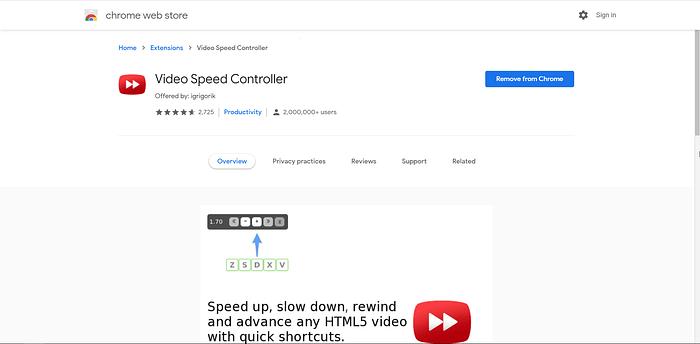 Video Speed Controller screenshot